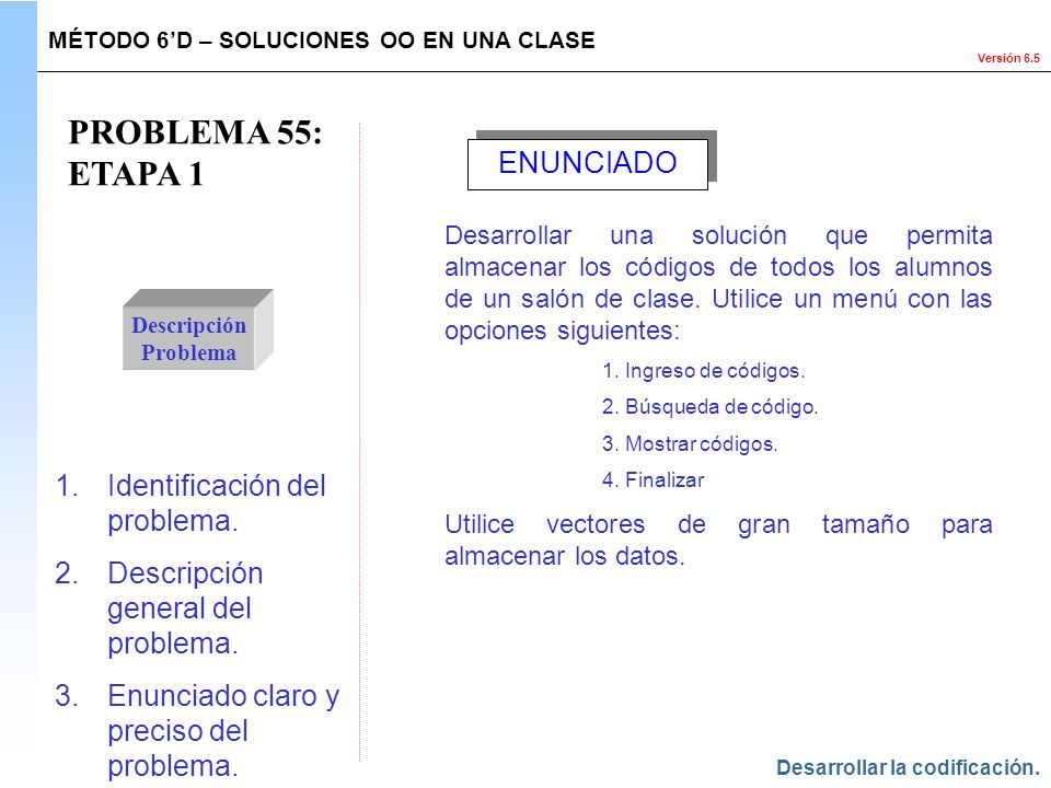 PROBLEMA 55: ETAPA 1 ENUNCIADO Identificación del problema.