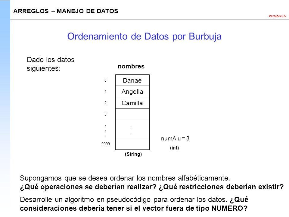 Ordenamiento de Datos por Burbuja