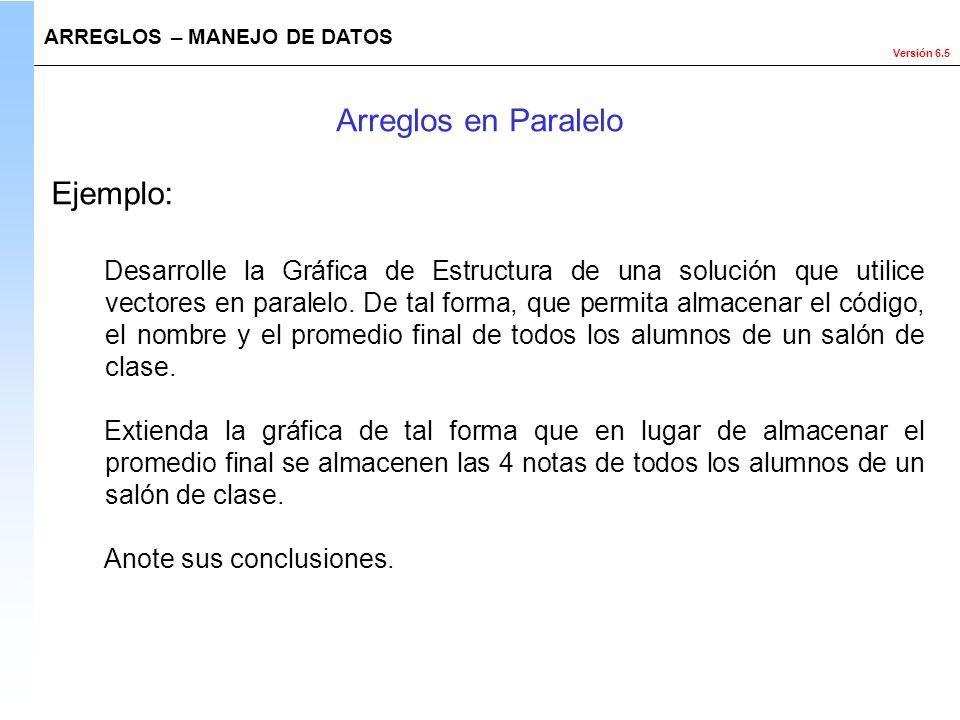 Arreglos en Paralelo Ejemplo: