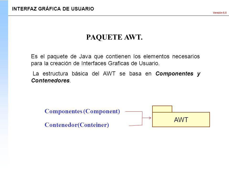 PAQUETE AWT. Componentes (Component) AWT Contenedor(Conteiner)