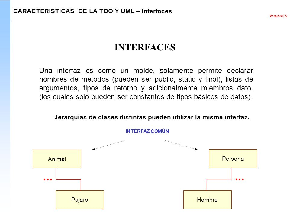 CARACTERÍSTICAS DE LA TOO Y UML – Interfaces