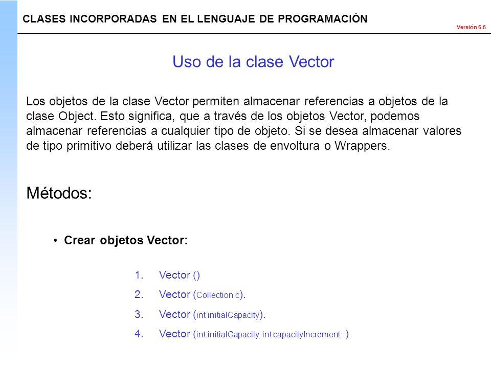 Uso de la clase Vector Métodos: