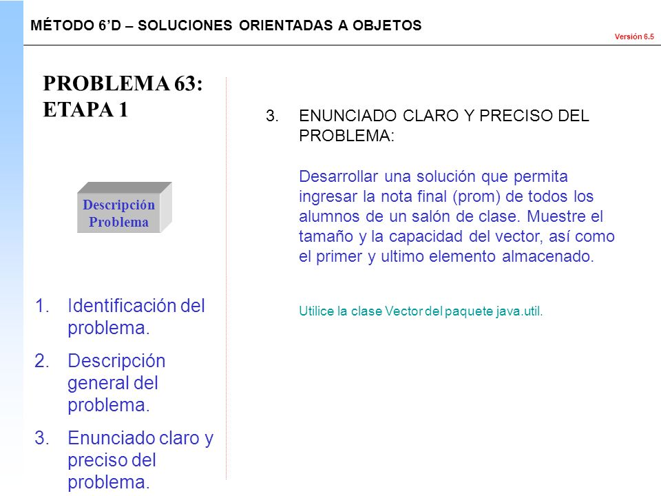 PROBLEMA 63: ETAPA 1 Identificación del problema.