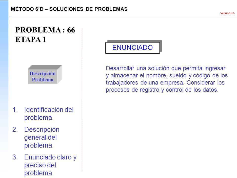 PROBLEMA : 66 ETAPA 1 ENUNCIADO Identificación del problema.