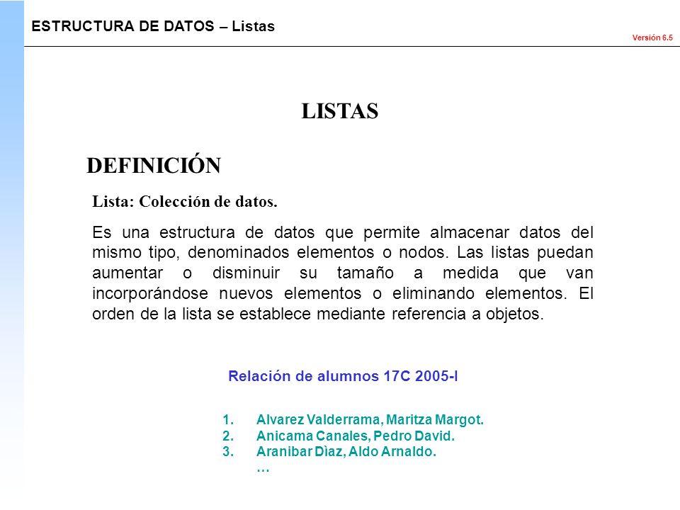 LISTAS DEFINICIÓN Lista: Colección de datos.