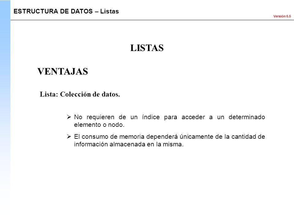 LISTAS VENTAJAS Lista: Colección de datos.