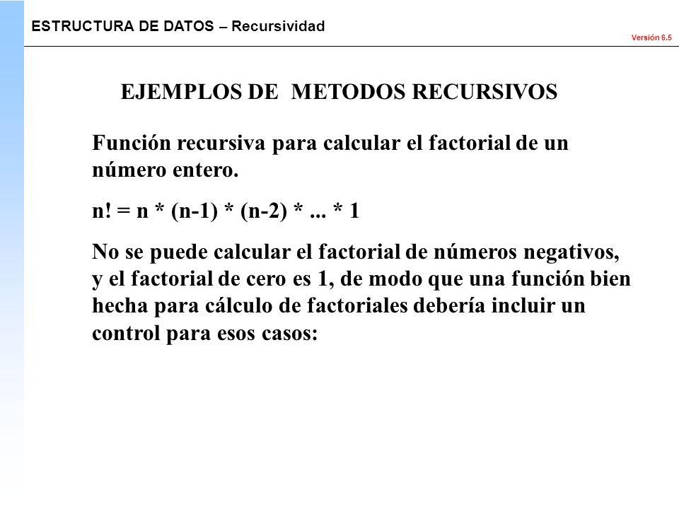 EJEMPLOS DE METODOS RECURSIVOS