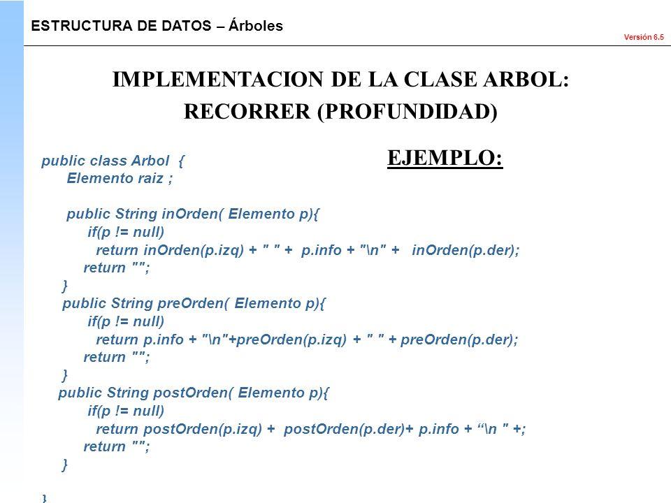 IMPLEMENTACION DE LA CLASE ARBOL: RECORRER (PROFUNDIDAD)