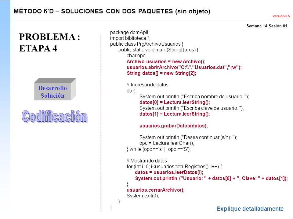 PROBLEMA : ETAPA 4 Codificación