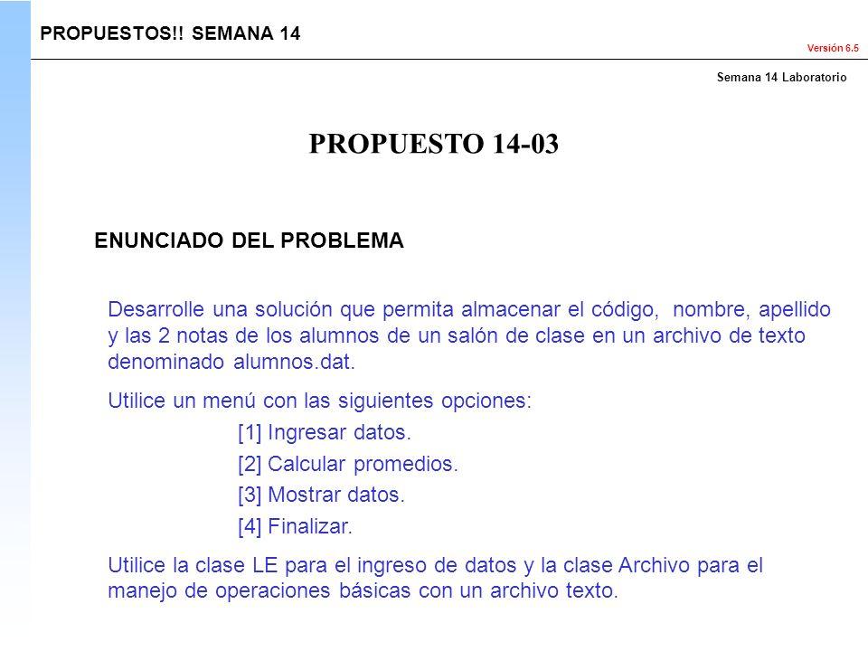 PROPUESTO 14-03 ENUNCIADO DEL PROBLEMA