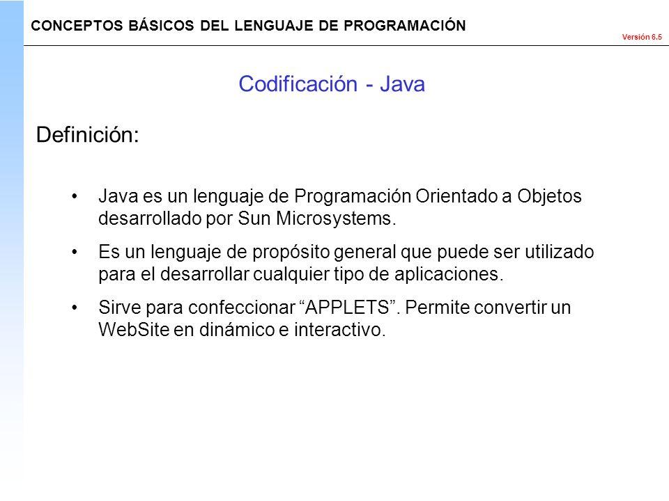 Codificación - Java Definición: