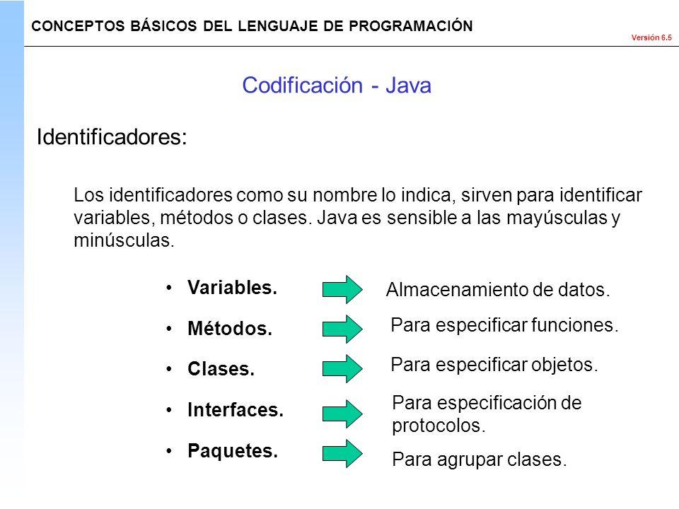 Codificación - Java Identificadores: