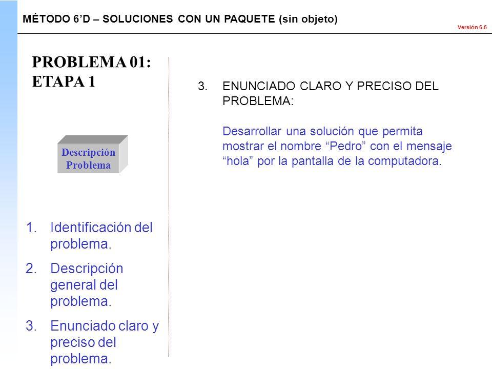 PROBLEMA 01: ETAPA 1 Identificación del problema.