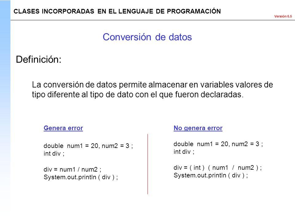 Conversión de datos Definición: