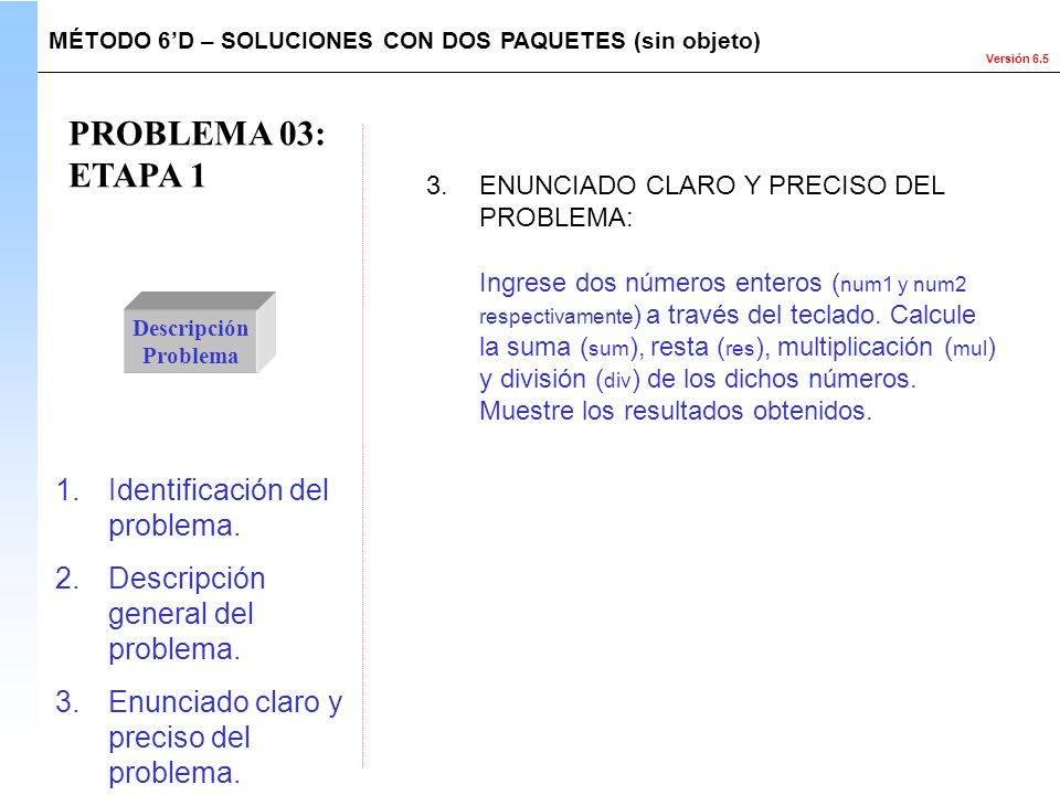 PROBLEMA 03: ETAPA 1 Identificación del problema.