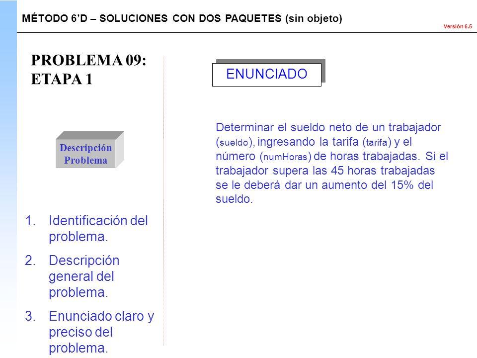 PROBLEMA 09: ETAPA 1 ENUNCIADO Identificación del problema.