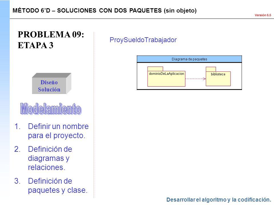 PROBLEMA 09: ETAPA 3 Modelamiento Definir un nombre para el proyecto.