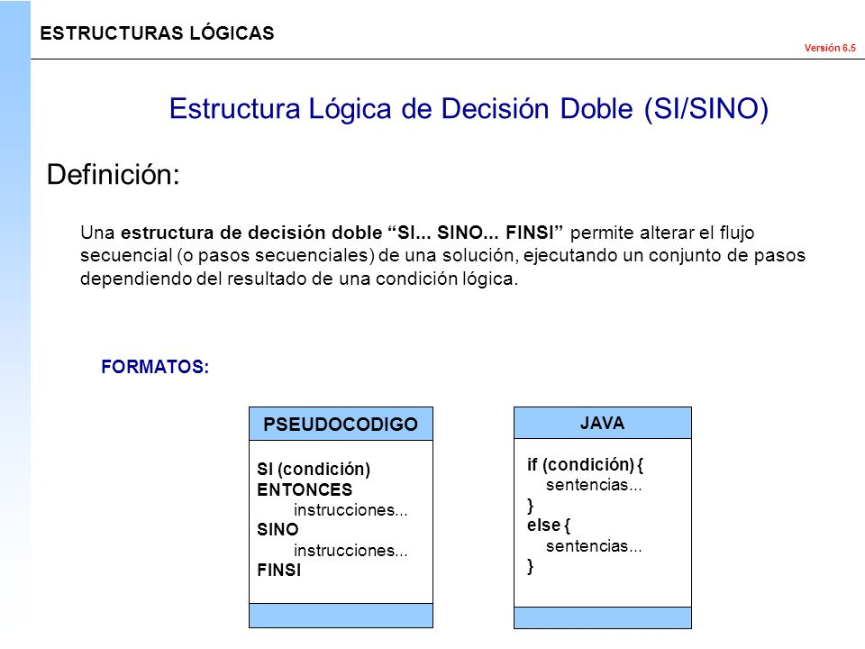 Estructura Lógica de Decisión Doble (SI/SINO)