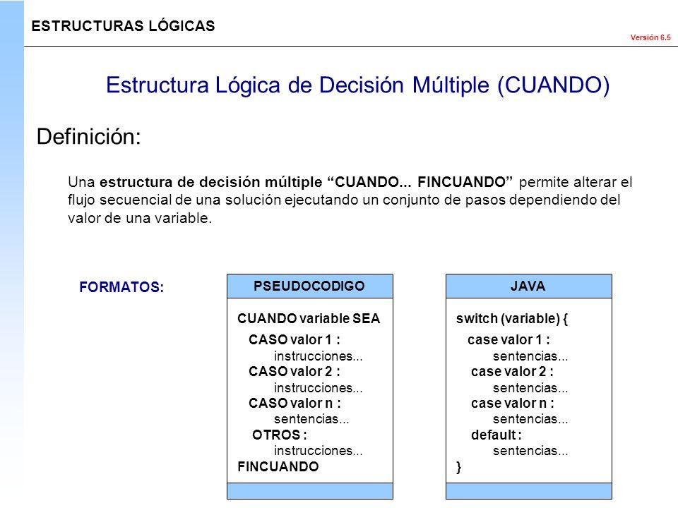 Estructura Lógica de Decisión Múltiple (CUANDO)