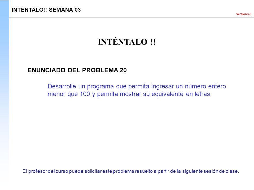 INTÉNTALO !! ENUNCIADO DEL PROBLEMA 20