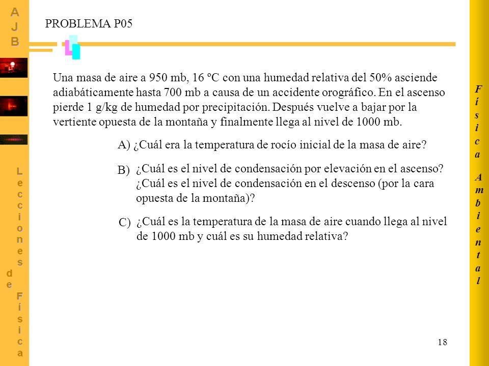 A) ¿Cuál era la temperatura de rocío inicial de la masa de aire