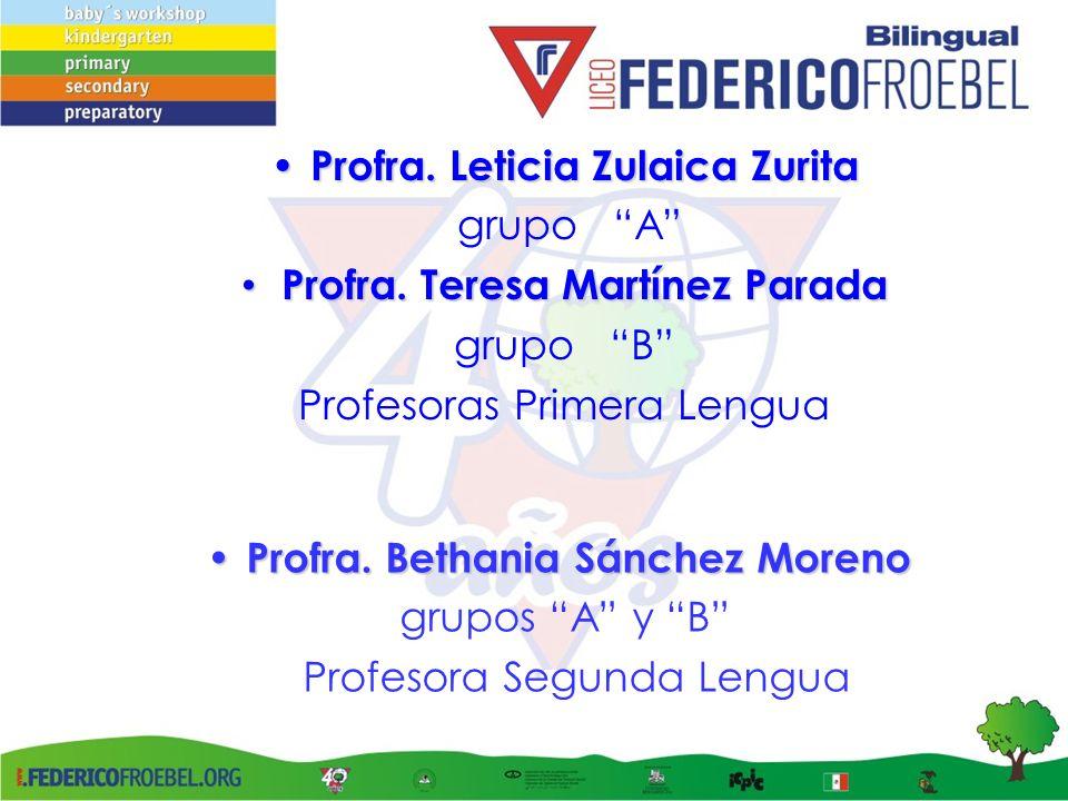 Profra. Teresa Martínez Parada Profra. Bethania Sánchez Moreno