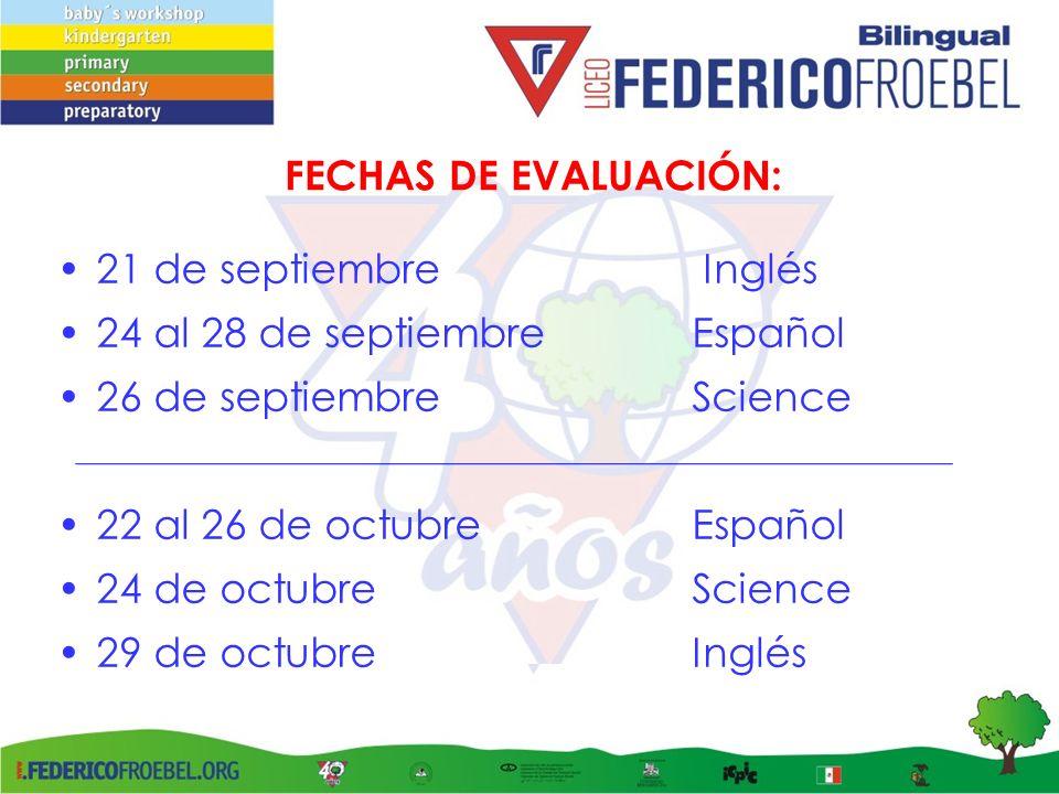 FECHAS DE EVALUACIÓN: 21 de septiembre Inglés. 24 al 28 de septiembre Español. 26 de septiembre Science.