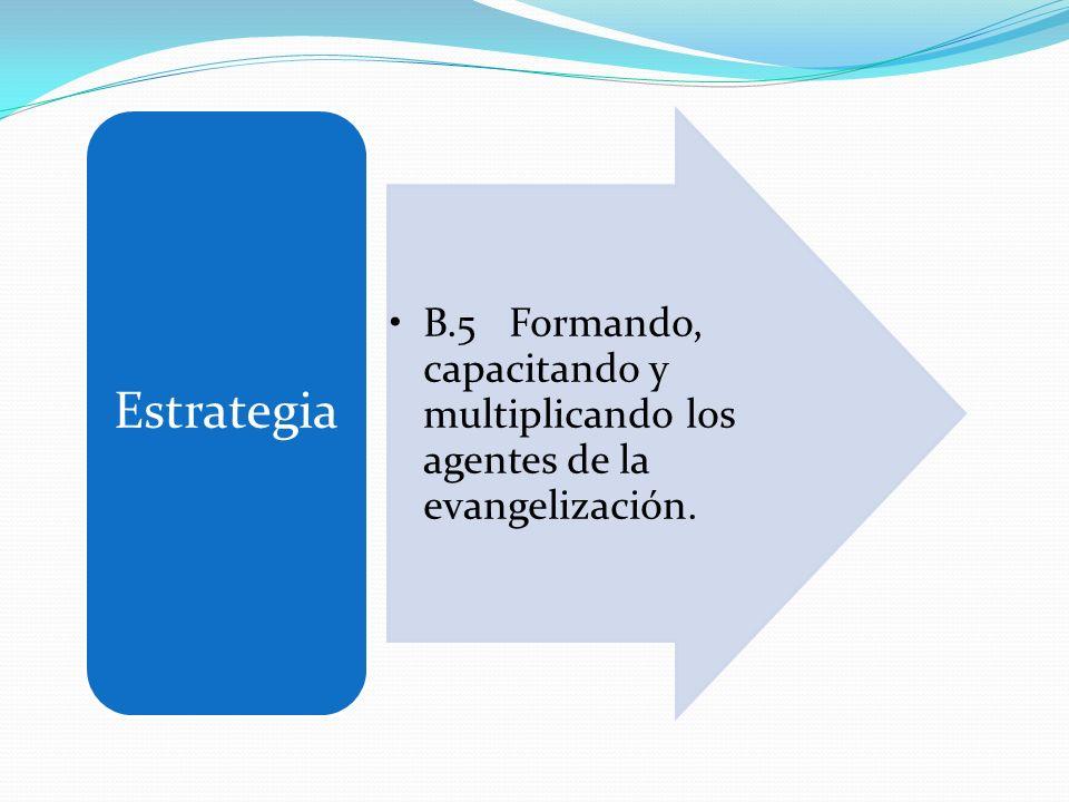 Estrategia B.5 Formando, capacitando y multiplicando los agentes de la evangelización.