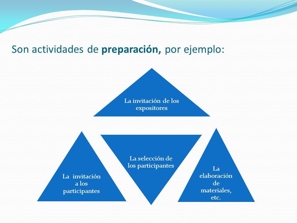 Son actividades de preparación, por ejemplo: