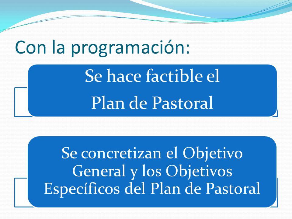 Con la programación: Se hace factible el Plan de Pastoral