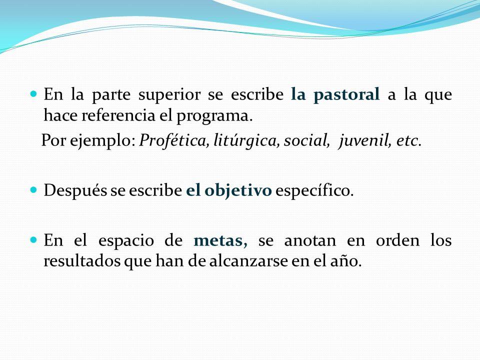 En la parte superior se escribe la pastoral a la que hace referencia el programa.