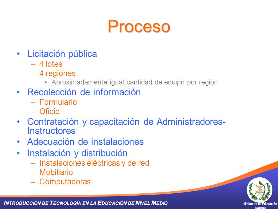 Proceso Licitación pública Recolección de información