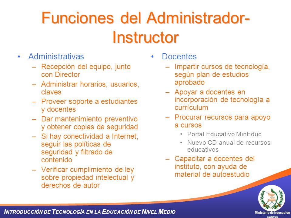 Funciones del Administrador-Instructor