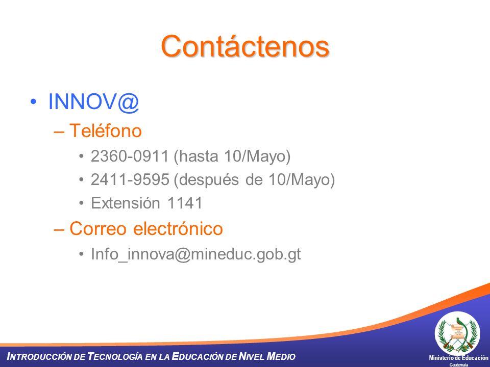 Contáctenos INNOV@ Teléfono Correo electrónico