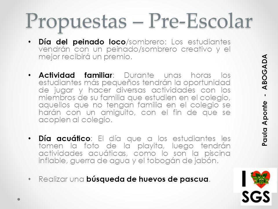 Propuestas – Pre-Escolar