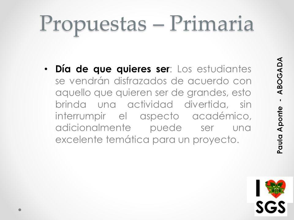 Propuestas – Primaria
