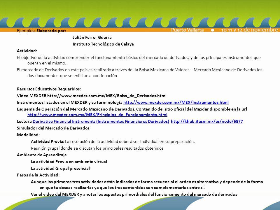 Ejemplos: Elaborado por: Julián Ferrer Guerra Instituto Tecnológico de Celaya Actividad: El objetivo de la actividad comprender el funcionamiento básico del mercado de derivados, y de los principales instrumentos que operan en el mismo.