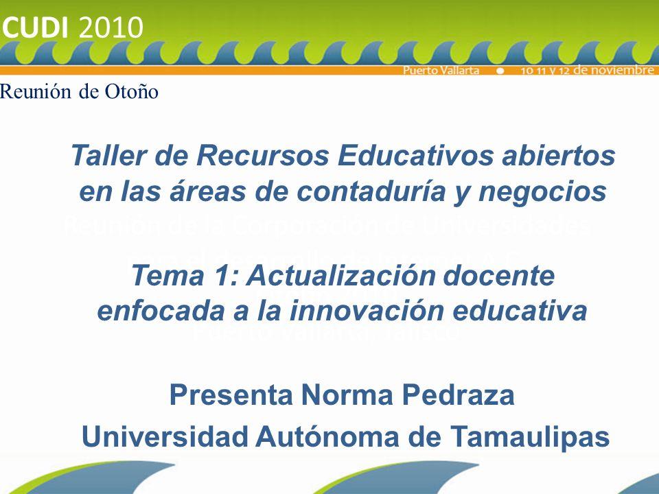 CUDI 2010 Reunión de Otoño. Reunión de la Corporación de Universidades para el desarrollo de Internet A.C. Otoño 2010 Puerto Vallarta, Jalisco.