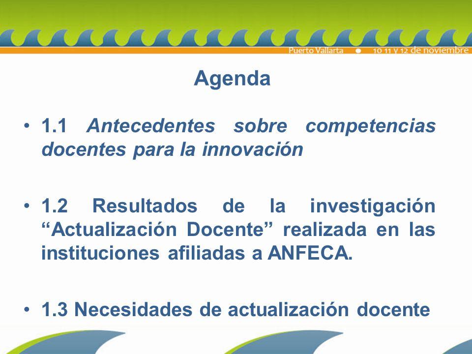 Agenda 1.1 Antecedentes sobre competencias docentes para la innovación