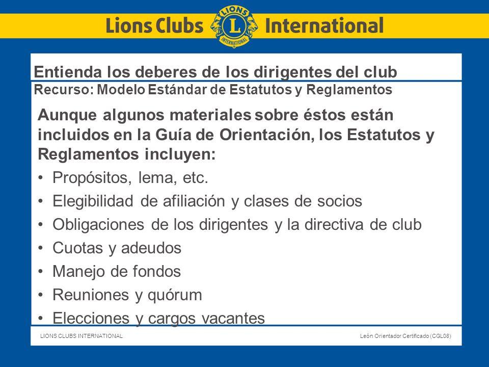 Entienda los deberes de los dirigentes del club Recurso: Modelo Estándar de Estatutos y Reglamentos