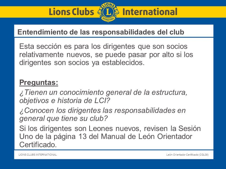 Entendimiento de las responsabilidades del club
