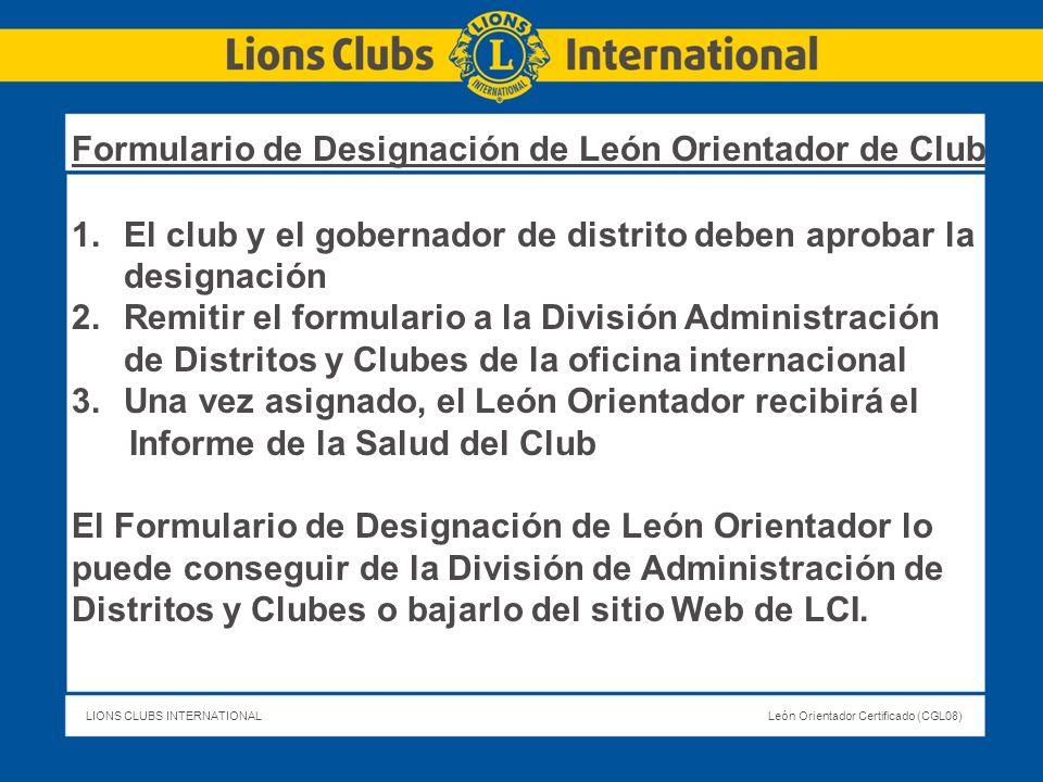 Formulario de Designación de León Orientador de Club