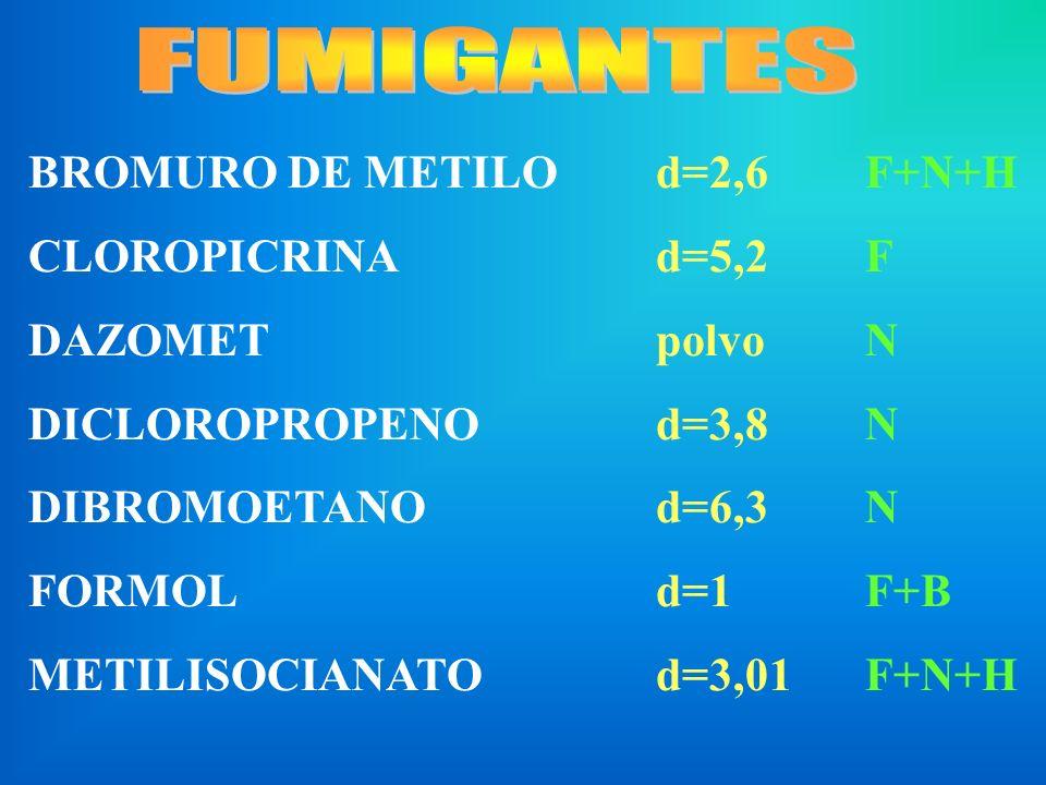 FUMIGANTES BROMURO DE METILO d=2,6 F+N+H CLOROPICRINA d=5,2 F