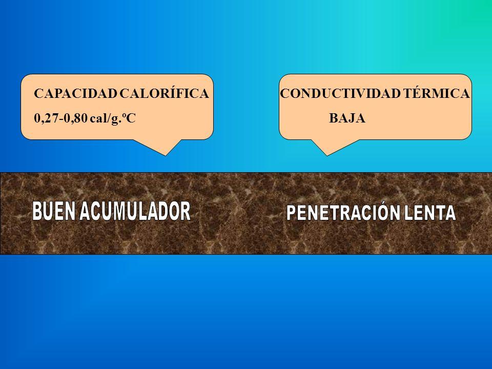 CAPACIDAD CALORÍFICA 0,27-0,80 cal/g.ºC. CONDUCTIVIDAD TÉRMICA.