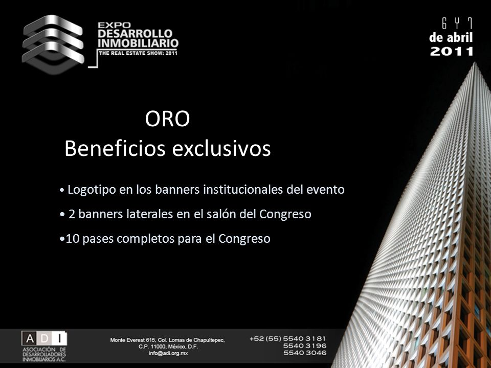 ORO Beneficios exclusivos