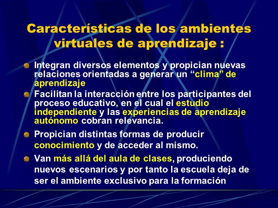 Características de los ambientes virtuales de aprendizaje :