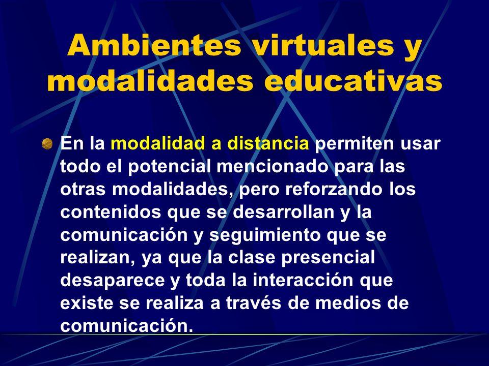 Ambientes virtuales y modalidades educativas