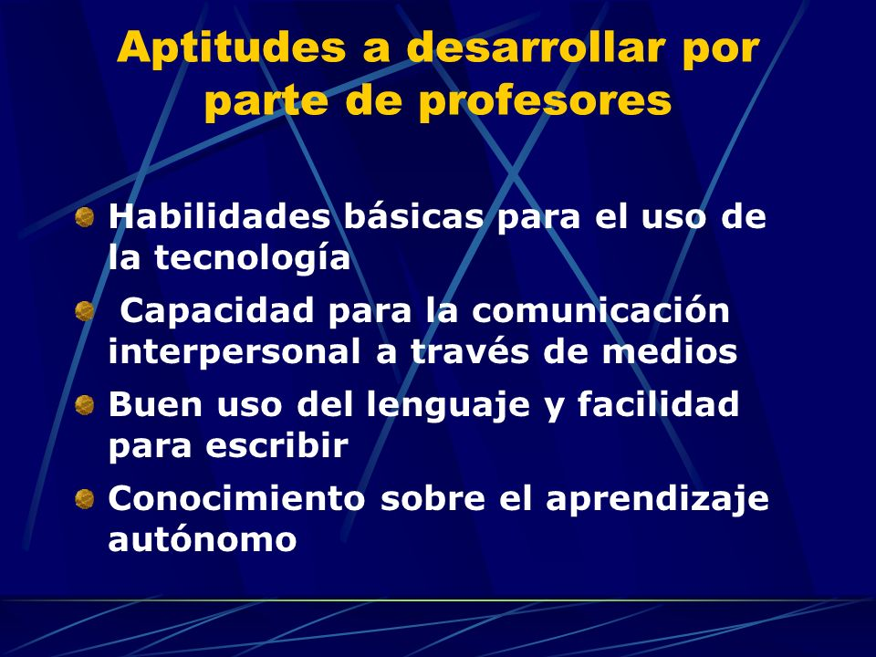 Aptitudes a desarrollar por parte de profesores