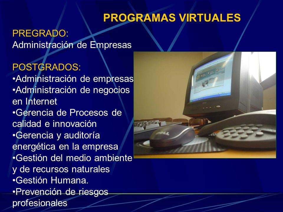 PROGRAMAS VIRTUALES PREGRADO: Administración de Empresas POSTGRADOS: