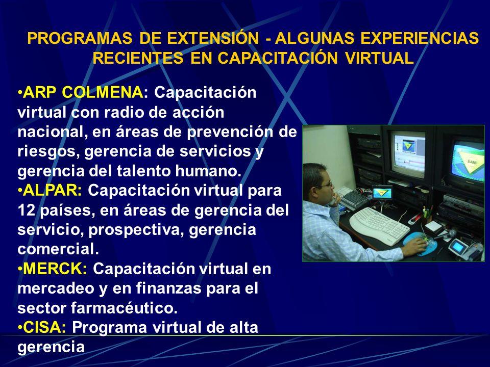 PROGRAMAS DE EXTENSIÓN - ALGUNAS EXPERIENCIAS RECIENTES EN CAPACITACIÓN VIRTUAL